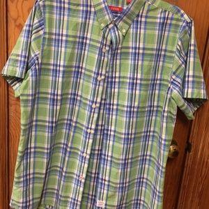 Men's Izod Short Sleeve Button Front Shirt Large